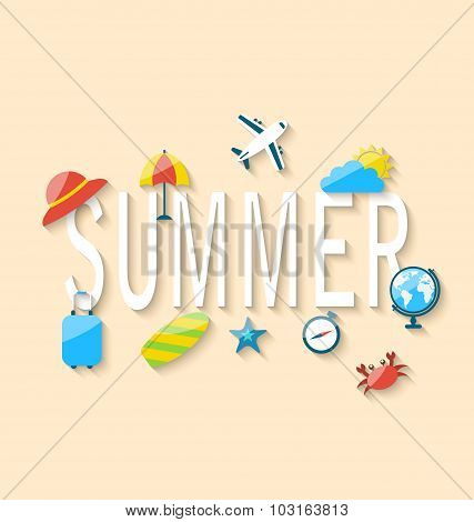 Travel Summer Background with Tourism Objects and Equipments