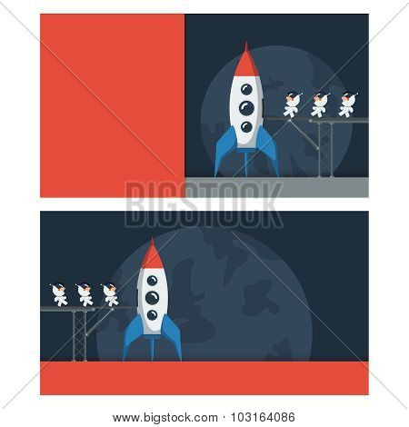 Banners with a space theme. Little funny astronauts on metal bridge loaded into the spaceship.