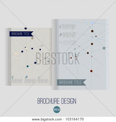 Vector Brochure Cover Design Templates With Abstract Geometric Triangular Connection  Backgrounds Fo