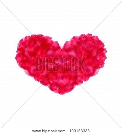 Pink hand-drawn watercolor heart isolated on white background fo