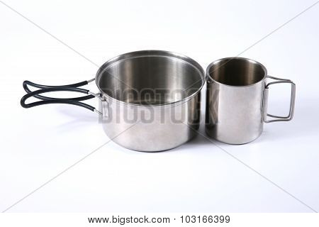 A Set Of Metal Utensils For Tourism