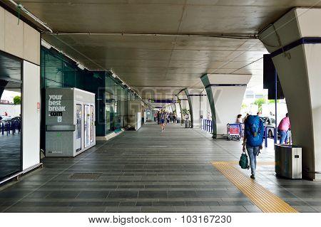 ROME, ITALY - AUGUST 16, 2015: Fiumicino Airport terminal outdoor. Fiumicino - Leonardo da Vinci International Airport is a major international airport in Rome, Italy