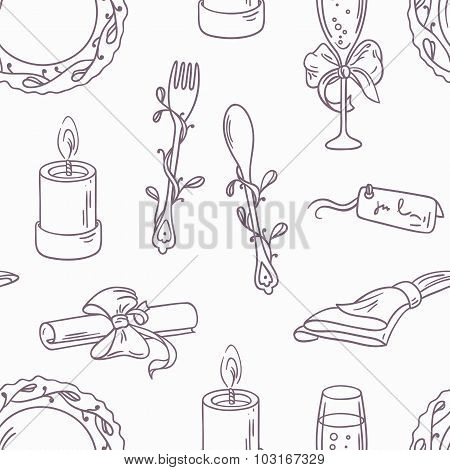 Doodle Wedding Table Decoration Seamless Pattern. Hand Drawn Outline Background