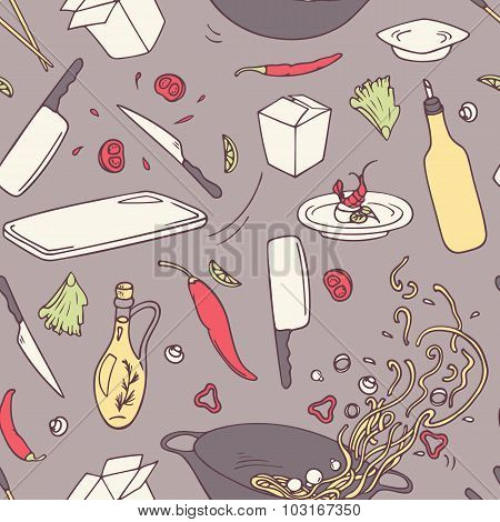 Hand Drawn Wok Restaurant Seamless Pattern. Doodle Asian Food Background