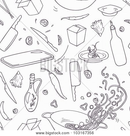 Set Of Outline Hand Drawn Wok Restaurant Elements. Doodle Asian Food