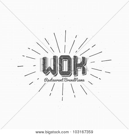 Hipster Style Wok Logo Template And Sunburst. Hand Drawn Steel Pan With Noodles