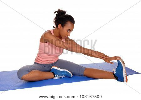 Beautiful African American Woman Stretching.
