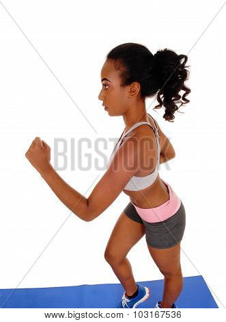 Young African American Woman Running.