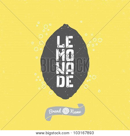 Hand Drawn Lemon Silhouette With Lemonade Lettering. Hipster Package Craft Design