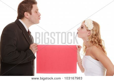Wedding Day. Bride And Groom Holding Sign Red Blank