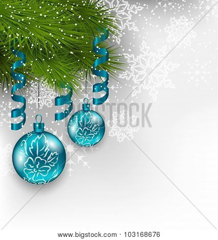 Christmas background with hanging glass balls and adornment