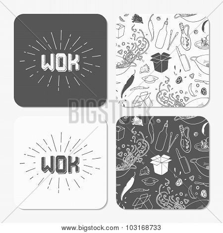 Square Table Coaster Templates Set With Doodle Wok Noodles Pattern And Logo Template