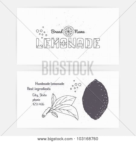 Business Card Set With Hand Drawn Lemonade Company Branding Template
