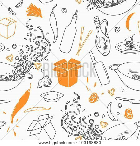 Stylized Outline Seamless Pattern With Hand Drawn Wok Restaurant Elements. Hipster Background