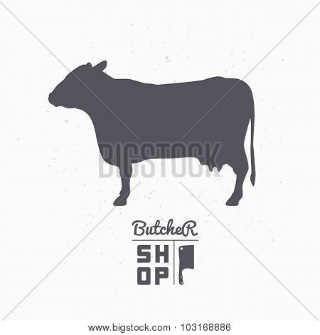 Cow Silhouette. Beef Meat. Butcher Shop Logo Template