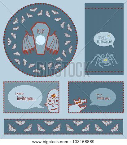 Set of Halloween templates