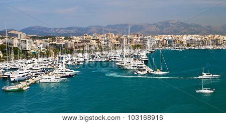 Marina Port In Palma De Mallorca At Balearic Islands Spain