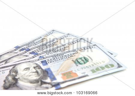 Four hundred dollar notes. All on white background.