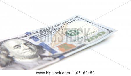 Single hundred dollar note. All on white background.