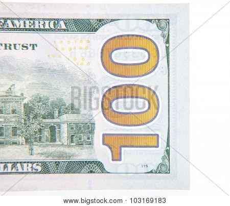 Hundred dollar note detail. All on white background