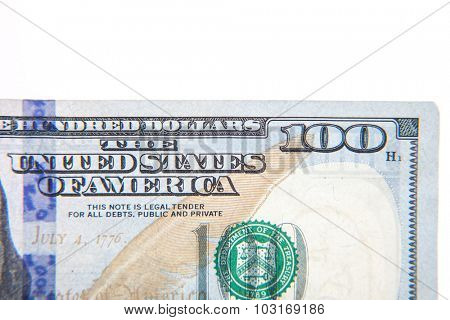 Hundred dollar note detail. All on white background.