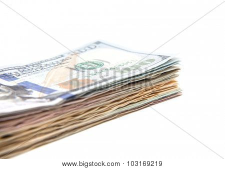 Pile of dollar notes. All on white background.
