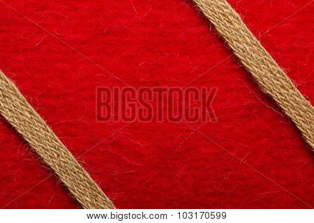Jute Rope Over Red Background