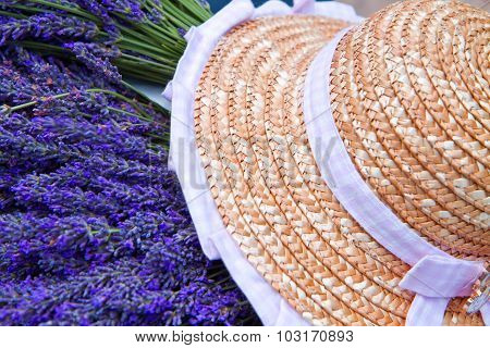 Lavender With Typical Hat In Provence