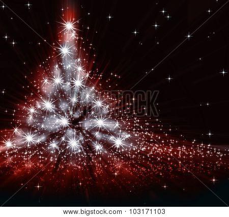 Christmas red tree, beautiful snowflakes and shining stars
