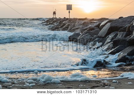 Jetty at Dawn at Virginia Beach Oceanfront