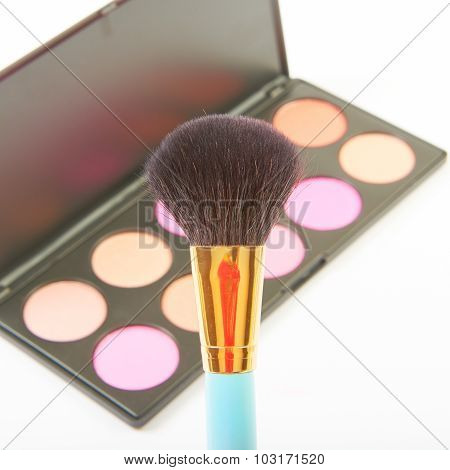 Makeup brush and cosmetic blush.