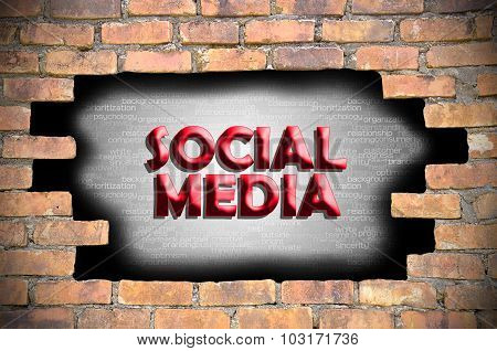Social Media In The Hole Of Brick Wall