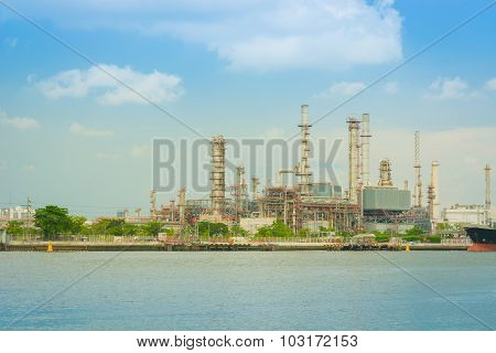 Oil Refinery Plant On Sunny Day.