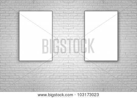 Blank Folded Paper Poster Hanging On White Brick Wall