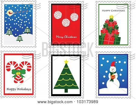 6 Christmas stamps