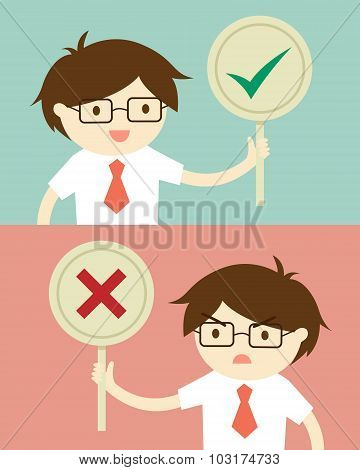 Business concept, Businessman holding true and false sign. Vector illustration and flat design.