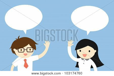 Business concept, Businessman talking with business woman. Vector illustration.