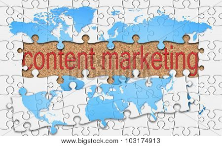 Jigsaw Reveal Content Marketing Word On Cork Background