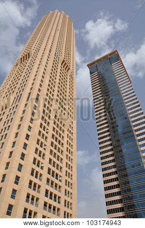 Skyscrapers on Sheikh Zayed Road in Dubai, UAE
