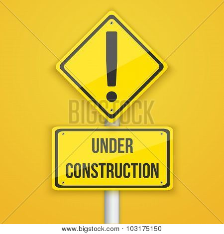 Website Under Construction Road Sign. Coming Soon Background Tem
