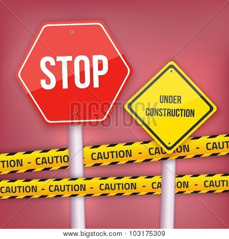 Vector Stop Sign Website Under Construction Template with Yellow
