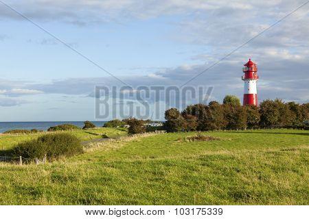Falshöft Lighthouse near Nieby on the Angeln peninsula at the baltic sea coast