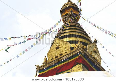 view of Swayambhunath temple, wisdom eyes in Nepal