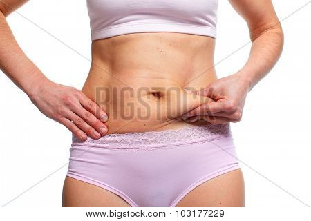 Woman fat belly. Overweight and weight loss concept.