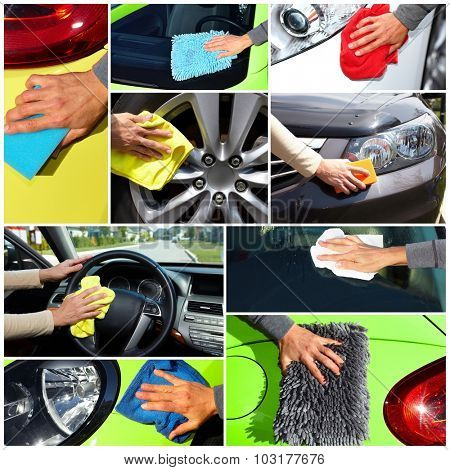 Hand with cloth washing a car. Waxing and polishing collage.