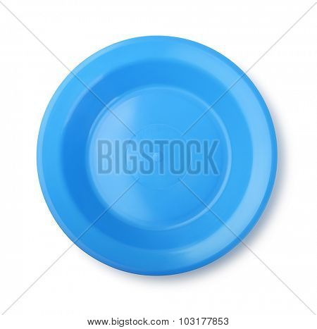 Empty blue plastic dish isolated on white