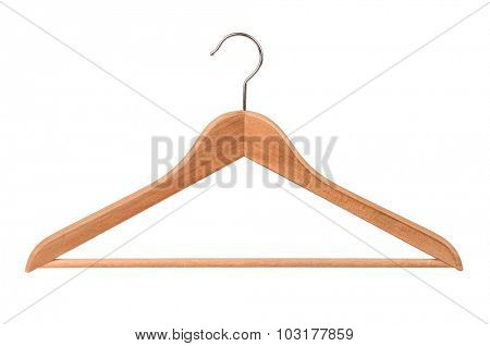 Wooden clothes hanger isolated on white