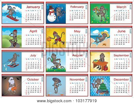 Set Of Horizontal Calendars For Each Month In 2016. Active Monkey