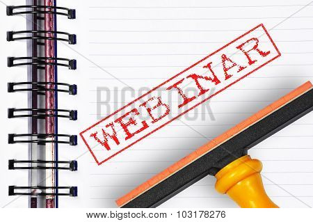 Webinar Rubber Stamp On The Note Book