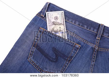 U.S. dollars in the back jeans